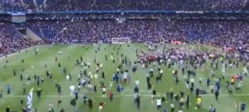 疯狂!西班牙人球迷赛后涌入球场共同欢庆球队进入欧联