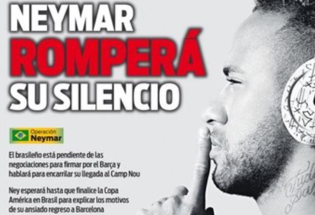 每体封面:内马尔可能会在巴西队结束美洲杯后宣布回归巴萨