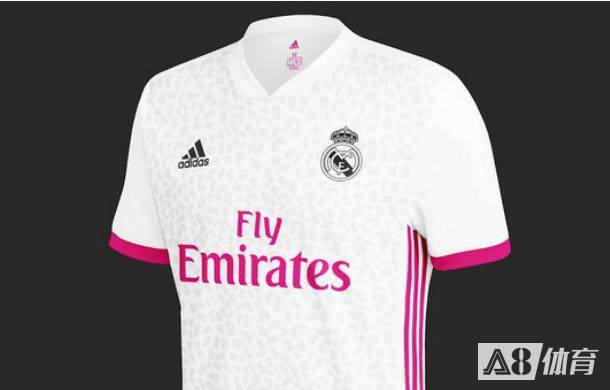 皇马新赛季主场队服新谍照:仍白配粉,线缝处也为粉色竖纹