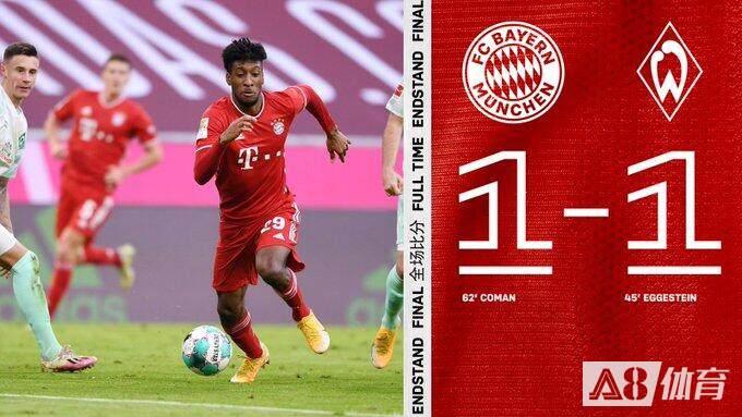 【战报】德甲-埃格斯泰因破门 科曼扳平 舒波莫廷失必进球 拜仁1-1不莱梅