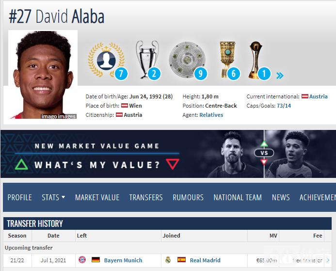 德转更新:阿拉巴已经确认将在今夏自由转会加盟皇马