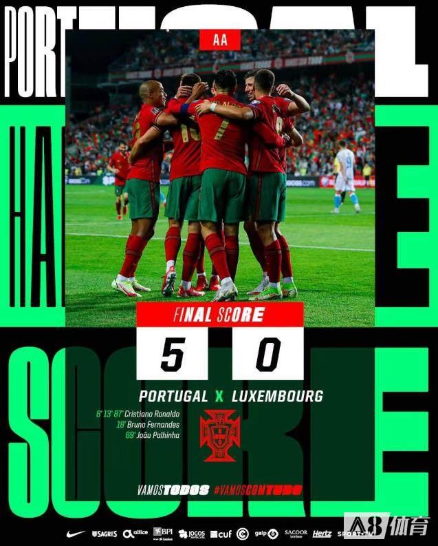 【战报】世预赛-C罗帽子戏法B费破门 葡萄牙主场5-0卢森堡